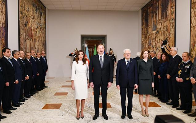 Prezidentlə xanımının Romada rəsmi qarşılanma mərasimi olub