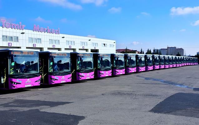 """""""Xaliq Faiqoğlu"""" şirkəti avtobuslarını dezinfeksiya edir"""