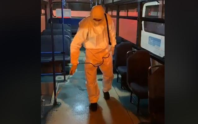 Bakıda avtobuslar dezinfeksiya edildi