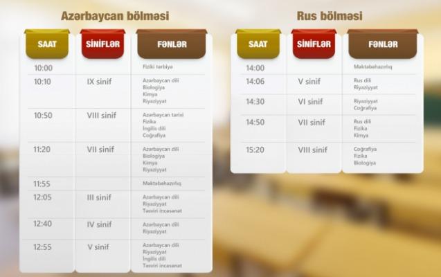 """""""Dərs vaxtı""""nın 25 mart cədvəli"""