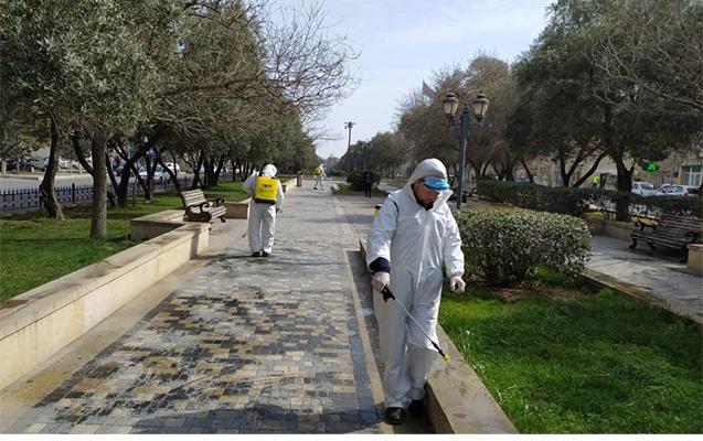 Nizami rayonunda da dezinfeksiya işləri davam etdirilir