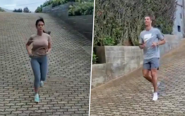 Ronaldo sevgilisi ilə məşq etdi