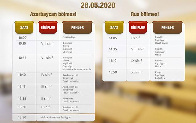 """""""Dərs vaxtı""""nın 26 may cədvəli"""
