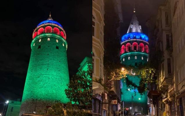 İstanbul Azərbaycan bayrağı ilə bəzəndi