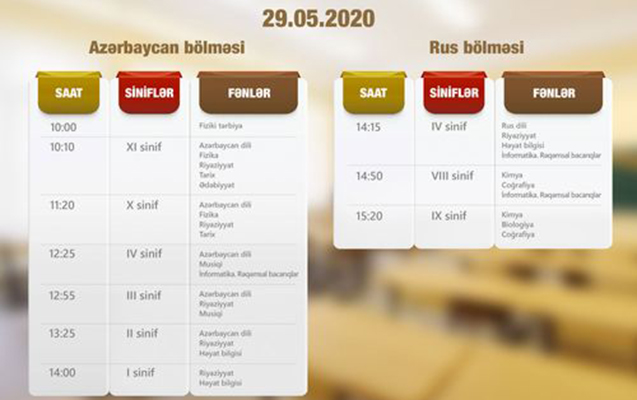 """""""Dərs vaxtı""""nın 29 may cədvəli"""