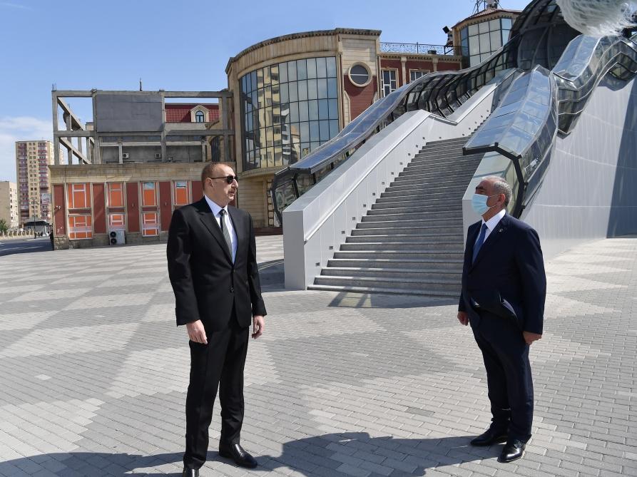 Prezident yerüstü piyada keçidinin açılışında - Fotolar