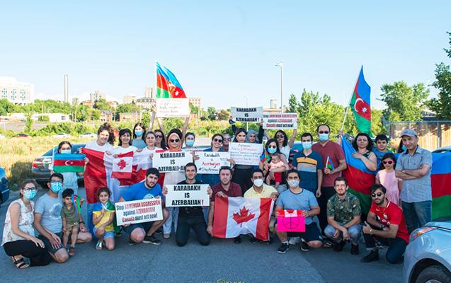 Kanadada Ermənistanın təxribatlarına qarşı aksiya keçirildi - Fotolar
