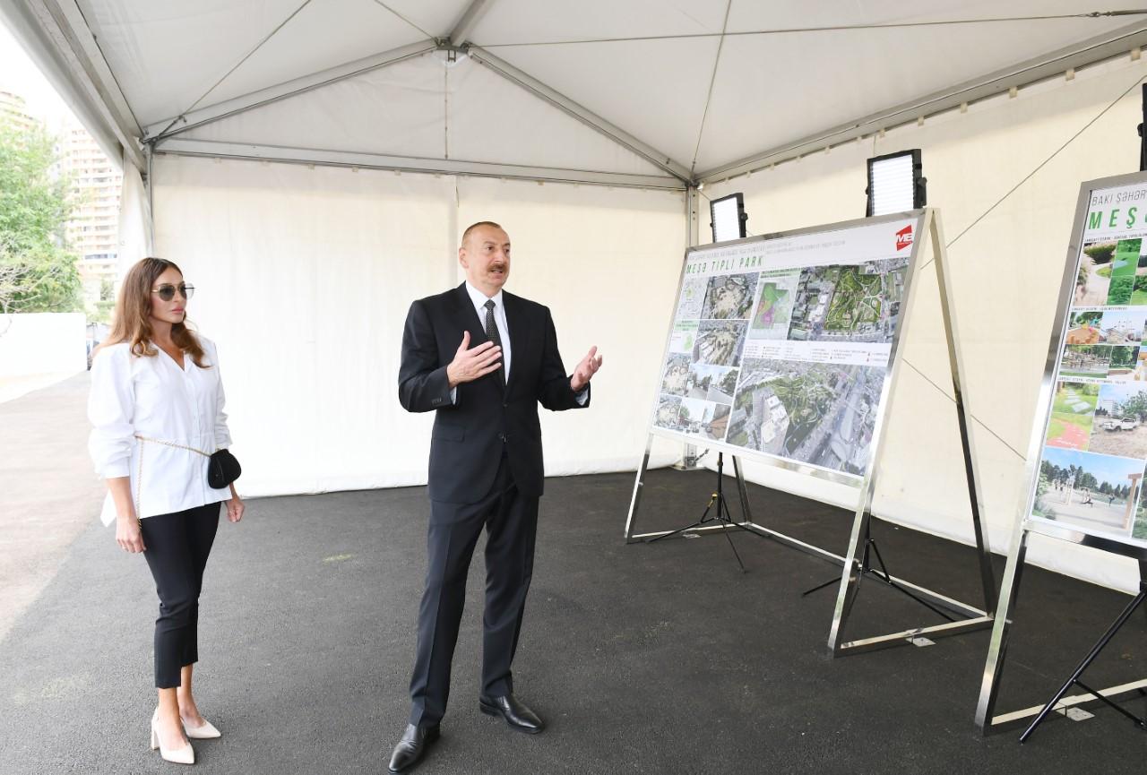 Prezident yeni parkda görüləcək işlərlə tanış oldu - Fotolar