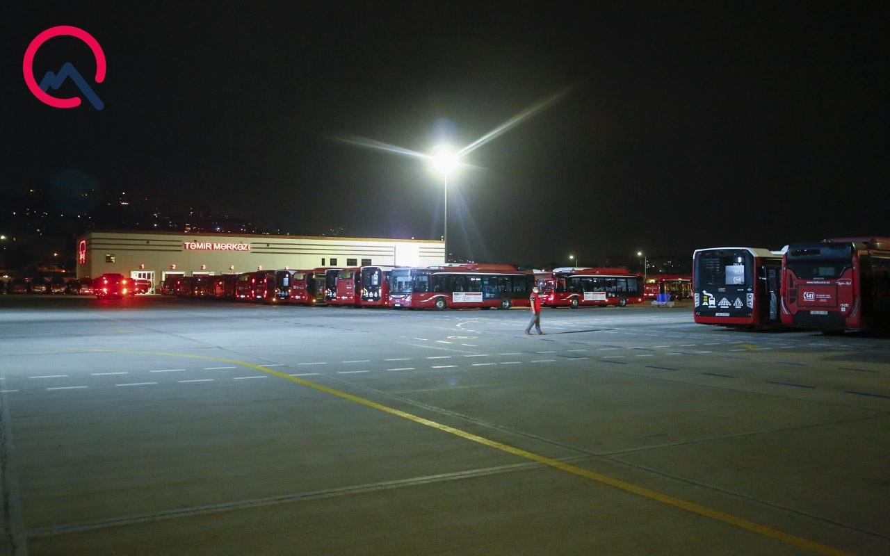 """""""BakuBus"""" avtobusları depoda belə yoxlanılır - Fotolar"""