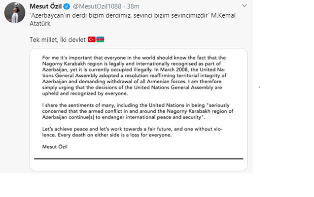 Mesut Özildən Azərbaycana dəstək
