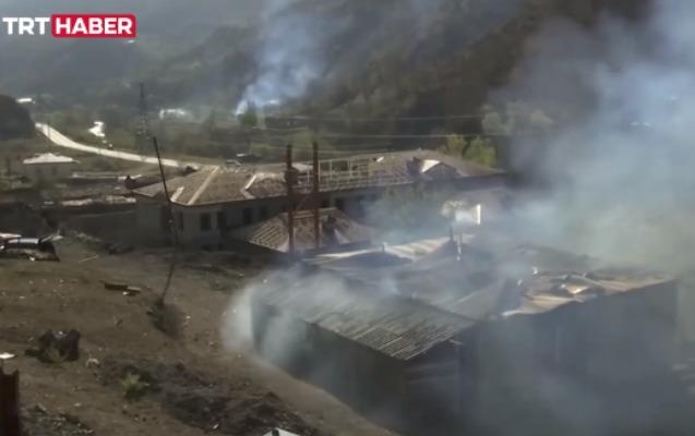 Ermənilər indi də Ağdamda evləri yandırır - Video