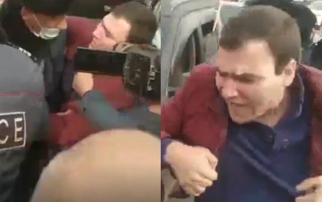 Yerevanda müxalifətçi avtomobilindən zorla çıxarılıb həbs edildi