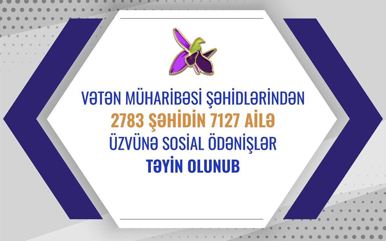 2783 şəhidin ailə üzvünə sosial ödənişlər təyin olunub
