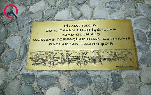 Qarabağdan gətirilmiş daşlarla Bakıda keçid salındı
