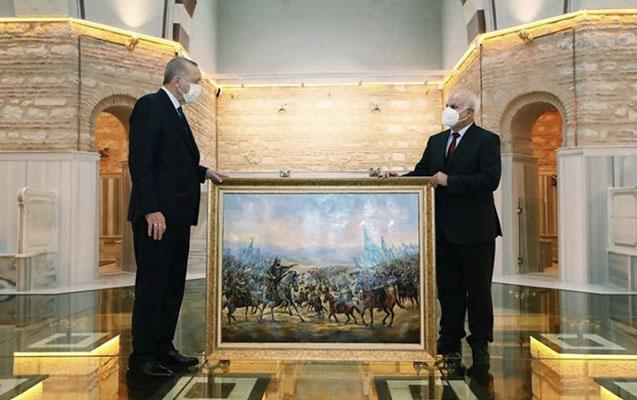 Azərbaycanlı rəssamın əsəri Ərdoğana hədiyyə edildi