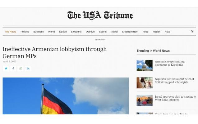 """""""The USA Tribune"""": alman deputatlar vasitəsilə qeyri-effektiv erməni lobbiçiliyi"""