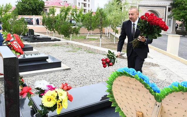 Prezident Naxçıvanda Vətən müharibəsi şəhidlərinin məzarlarını ziyarət etdi