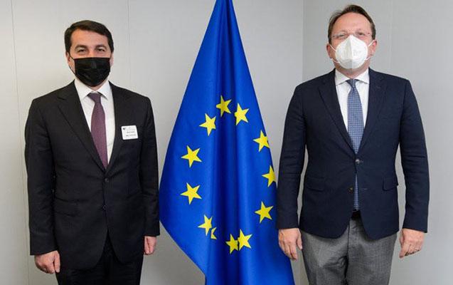 Prezidentin köməkçisi Avropa İttifaqı komissarı ilə görüşdü