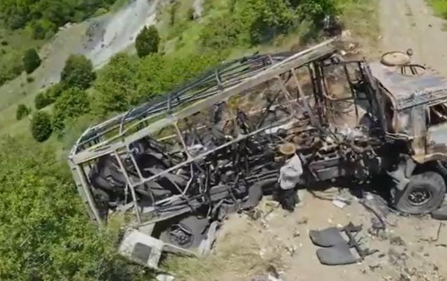 Jurnalistlərin minaya düşdüyü yerdən dron görüntüləri