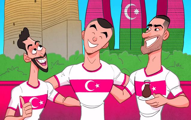Omar Momani Türkiyə millisinin Bakıya gəlişinə karikatura çəkdi  - Foto