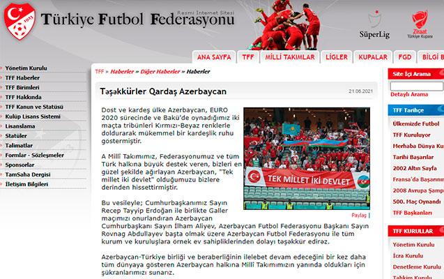 Türkiyə millisi Azərbaycana təşəkkür etdi