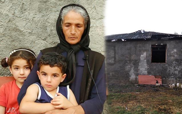 Oğlu minaya düşərək ölən ananın evi yandı