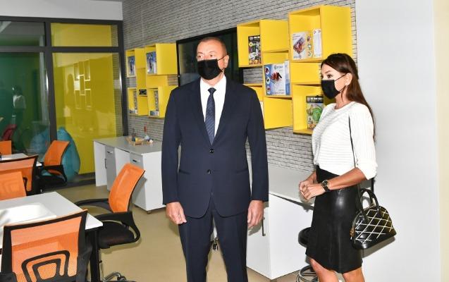 Prezidentlə xanımı Bakı Avropa Liseyinin yeni binasında