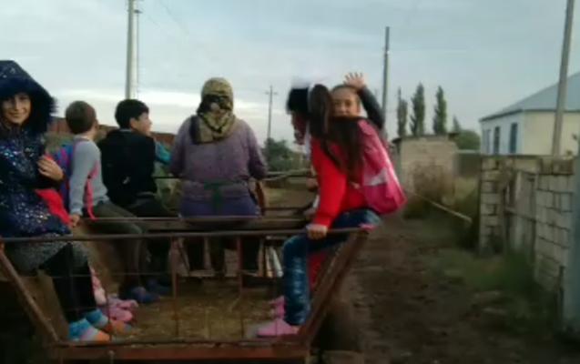 Bu rayonda məktəblilər dərsə at arabası ilə gedir - Video